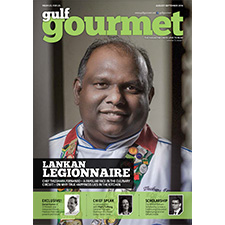 Gulf Gourmet August-September 2016 cover featuring group executive chef Thushara Fernando