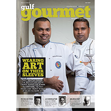 Burj Al Arab's Rohitha Kumara, who won the 'Best Kitchen Artist' trophy and Dubai International Hotel's Achira Kularathane, who won the 'Best Pastry Chef' trophy at Salon Culinaire 2017
